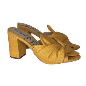 Sam Edelman Oda Mustard Linen Mules Bow Slide 8M
